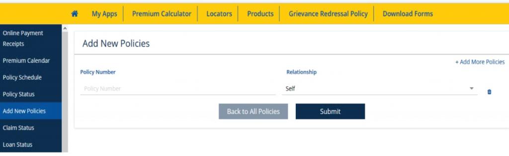 add or enroll policies in LIC account